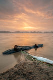 Driftwood with sunrise. A stormy lake with driftwood on the shoreline Royalty Free Stock Photography