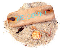Driftwood welcome Stock Images