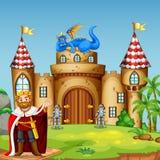 A drigon king at castle. Illustration vector illustration