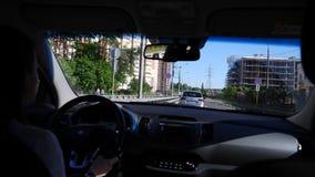 Drijf een reis door auto, de mening van het venster stock footage