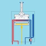 Drijfgasboiler Het vlakke pictogram van de gasboiler Stock Fotografie