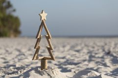 Drijfhoutkerstboom op het strand royalty-vrije stock foto's