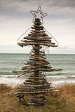 Drijfhoutkerstboom, Pouaua-Strand, Gisborne, Nieuw Zeeland Stock Foto's