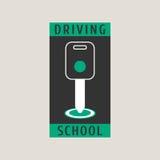 Drijfschool vectorembleem, teken, symbool, embleem stock illustratie