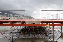 Drijvend dok in Rapallo royalty-vrije stock foto