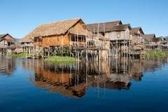 Drijvend dorp bij Inle Meer, Myanmar Royalty-vrije Stock Fotografie