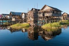 Drijvend dorp bij Inle Meer, Myanmar Royalty-vrije Stock Afbeeldingen