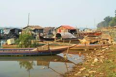 Drijvend dorp op Mekong rivier Stock Afbeelding