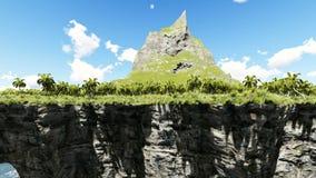 Drijvend eiland met berg en wolken in de hemel stock illustratie