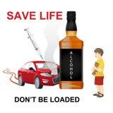 Drijvend onder de invloed van clubdrugs, alcohol, prescribtiondrugs, marihuana of andere ongeoorloofde drugs stock illustratie