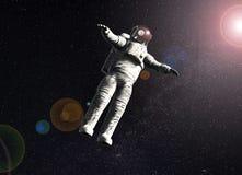 Drijvende astronaut in ruimte met zon royalty-vrije illustratie