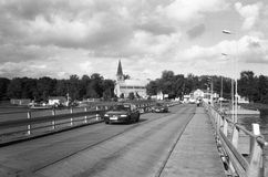 Drijvende brug. Stock Foto