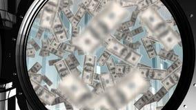 Drijvende dollarrekeningen binnen een brandkast stock illustratie