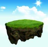 Drijvende eiland 3d model en digitale illustratie Stock Afbeelding
