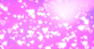 Drijvende lichtgevende harten naadloze lijn stock videobeelden