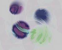 Drijvende Orbs in Licht Olive Green en Viooltje Vector Illustratie