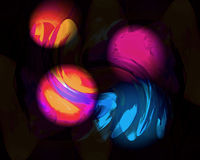 Drijvende Orbs in Magenta Sinaasappel en Blauw Vector Illustratie
