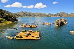 Drijvende Uros-eilanden, meer Titicaca, Bolivië/Peru Stock Foto's