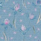 Dril de algodón azul claro con el estampado de flores colorido Fondo inconsútil floral hermoso Ornamento del azafrán del drenaje  libre illustration