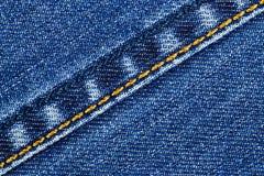 Dril de algodón azul con el hilo amarillo Imagenes de archivo