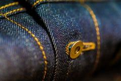 Dril de algodón azul y amarillo con la costura imagen de archivo libre de regalías