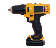 Drill. Battery drill machine against a white background Stock Image