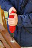 Drill. With ing machine, woodworker Stock Image