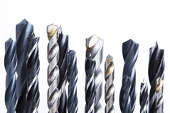Drill bit. Different types of drill bits isolated on white background Royalty Free Stock Photo