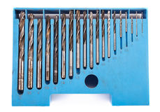 Drill bit set in box Stock Image