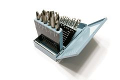 Free Drill Bits And Taps In A Metal Box Stock Image - 8420651