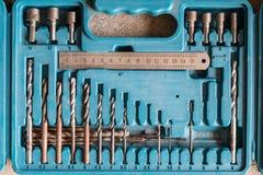 Drill bits / drill bit set in toolbox Royalty Free Stock Photo