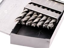 Drill Bits In A Metal Box Stock Photo