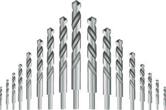 Drill bits for iron. Steel hardware drill bits for drilling iron Stock Photo