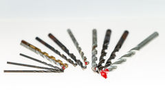 Drill bits on isolated white background Royalty Free Stock Photo