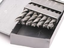 Drill Bits in a metal box Stock Photos