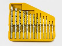 Drill bits set. Set of drill bits on white background Royalty Free Stock Photography