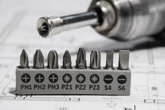 Drill bits. Set of drill bits for electric screwdriver Stock Images