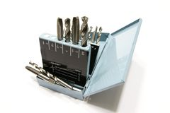 Drill bits and taps in a metal box Royalty Free Stock Photography