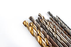 Drill Bits On White Background Royalty Free Stock Images