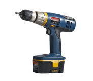 Drill in blue and yellow, isolated Royalty Free Stock Photo
