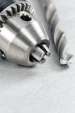 Drill chuck with bit closeup Royalty Free Stock Image
