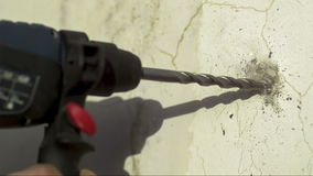 Drill in Concrete Wall stock footage