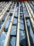 Drill core trays from gold deposit Royalty Free Stock Photo