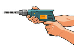 Drill in hand. Building, repair, housework, construction tool concept. Cartoon vector illustration Stock Photos