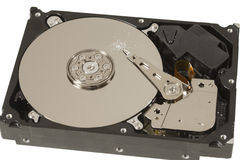 Drill hole in hard disk platter Royalty Free Stock Images