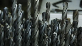 Drill large diameter in a large quantity for machine tools closeup. stock video footage