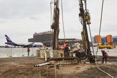 Drill machines works on runaway Stock Photo