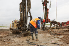 Drill machines works on runaway Stock Images