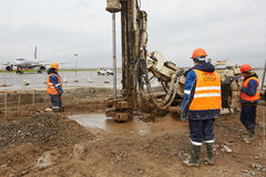 Drill machines works on runaway Royalty Free Stock Photos