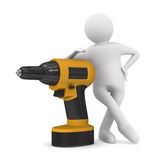 Drill and man on white background. Isolated 3D Royalty Free Stock Photography